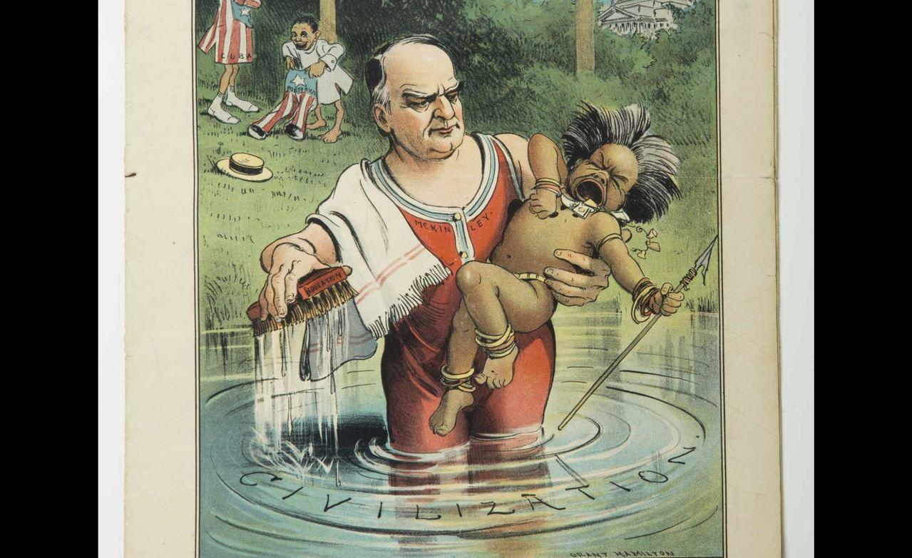 有些美國議員懷抱經濟利益的思考、「白種人負擔」的論調,呼籲美國拾起這塊新擁有的殖...
