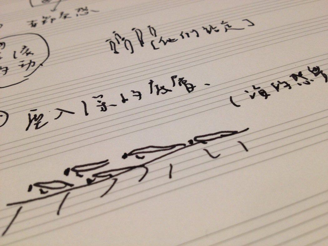 圖:2013年與音樂家工作時的隨拍,王榆鈞筆下的舞者與文字。是吻仔魚無誤,不過卡...