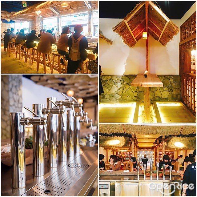 ▲店內有Lounge沙發區、茅草屋的立飲區和吧台高腳椅區,三個空間中的每個角落都...