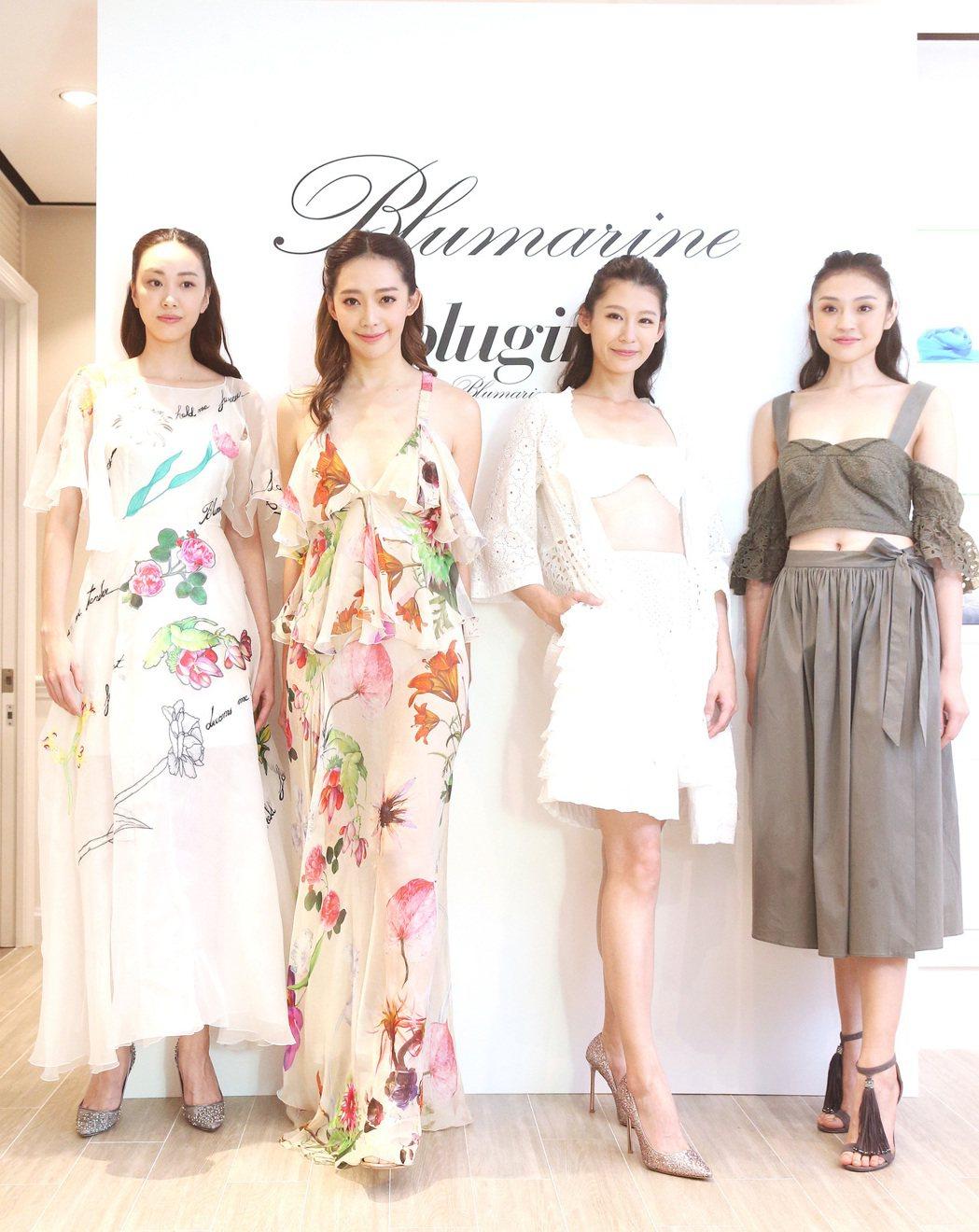服裝品牌Blumarine今天舉行春夏發表,並邀請王心恬(左二)等名模走秀。記者...