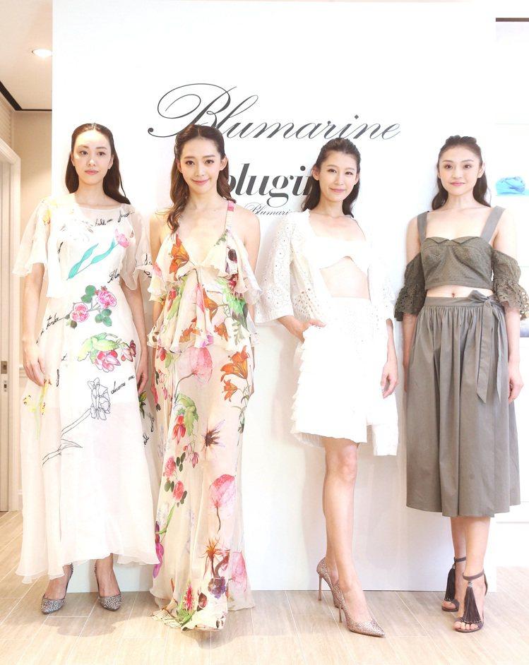 服裝品牌Blumarine今天舉行春夏發表,並邀請王心恬(左二)等名模走秀。圖/...