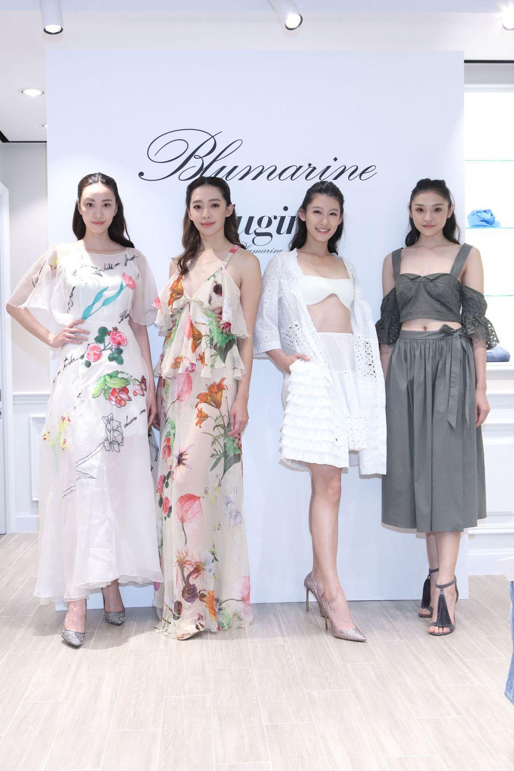 王心恬(左二)身著Blumarine雪紡印花長洋裝,128,000元 / 左一:...