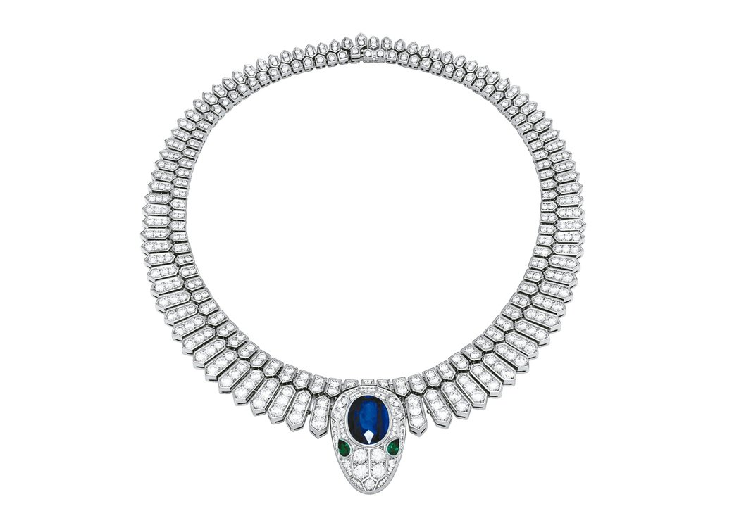 Mediterranean Eden系列Serpenti頂級藍寶石與祖母綠鑲鑽鉑...