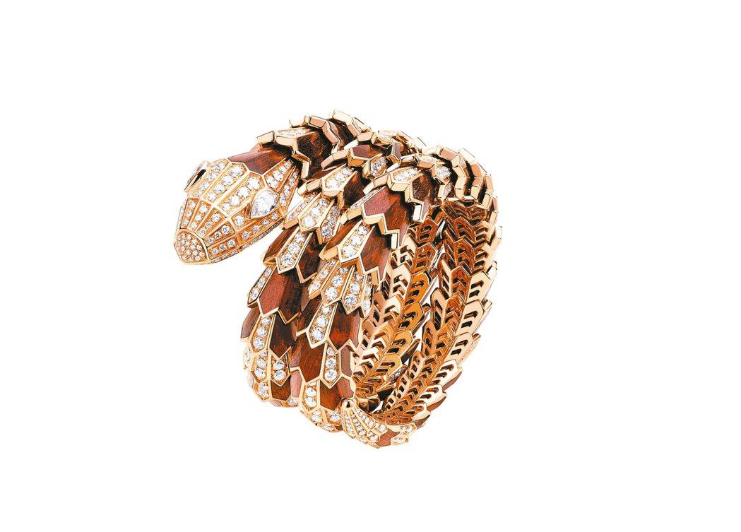Mediterranean Eden系列 Serpenti 頂級蛇紋木鑲鑽手環,...