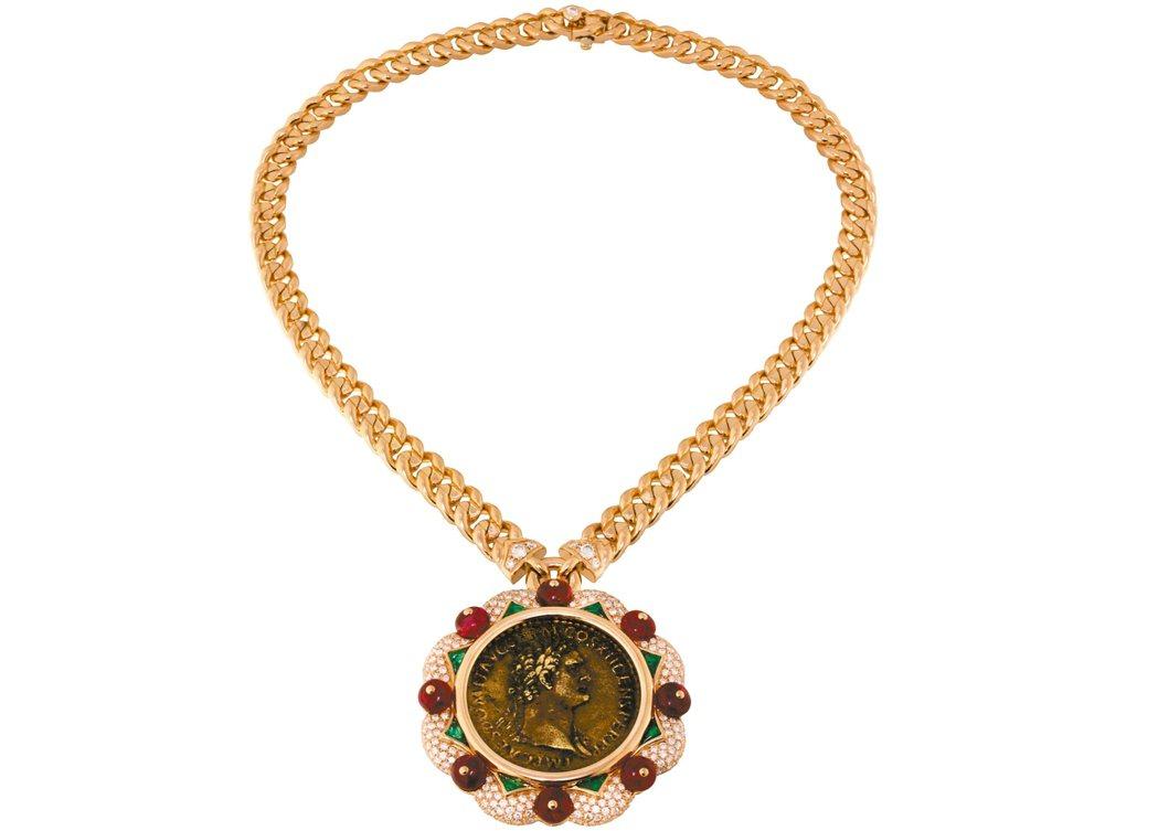 Roman Heritage系列 Monete古幣與彩寶項鍊,青銅羅馬古幣搭配尖...