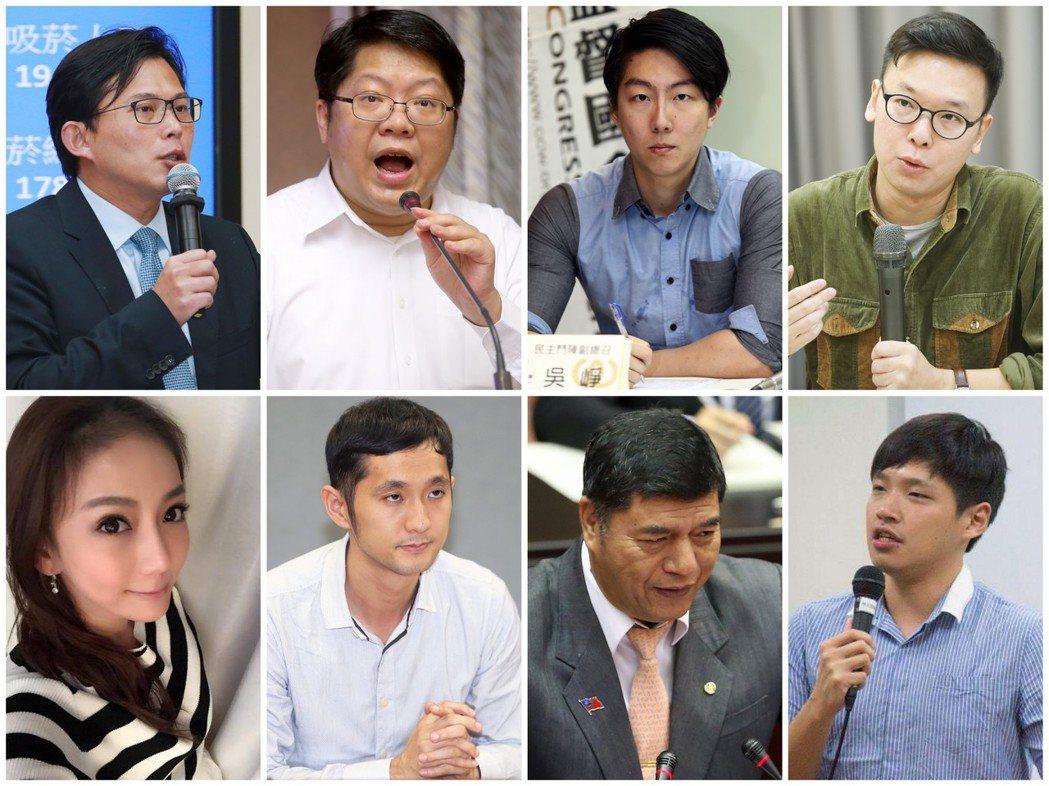 太陽花學運時的風雲人物。左上至右下為:黃國昌、賴中強、吳崢、林飛帆、劉喬安、柳林...