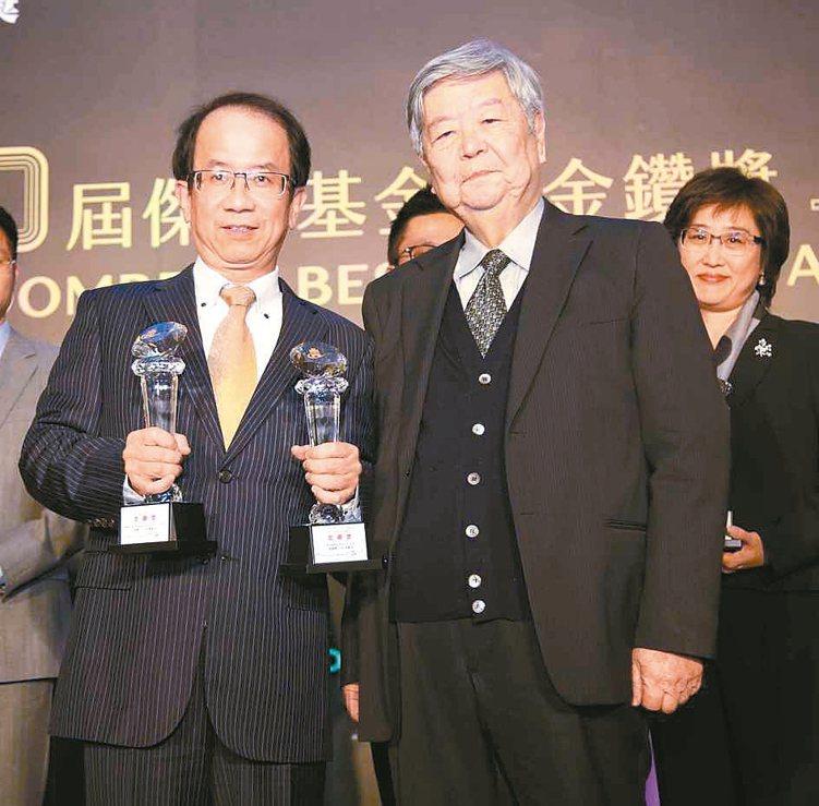 復華投信總經理周輝啟(左)代表領取金鑽獎獎座。 毛洪霖/攝影