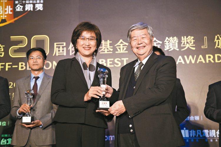 野村投信總經理王伯莉(左)代表領獎。 毛洪霖/攝影