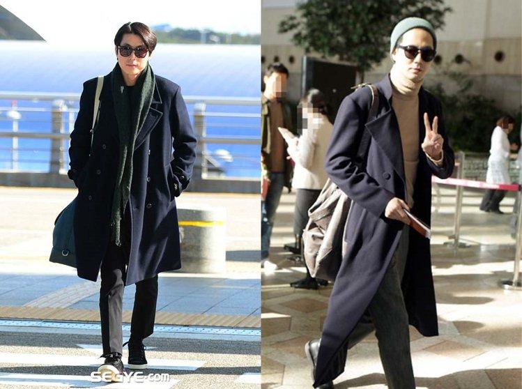 韓星鄭宇盛和趙寅成都利用大衣穿搭出入機場。圖/擷自pinterest
