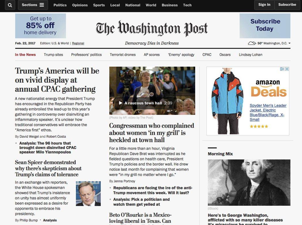 華郵喊出新口號「民主死於黑暗」放在首頁報紙名稱下方,被紐時總編輯調侃。 美聯...