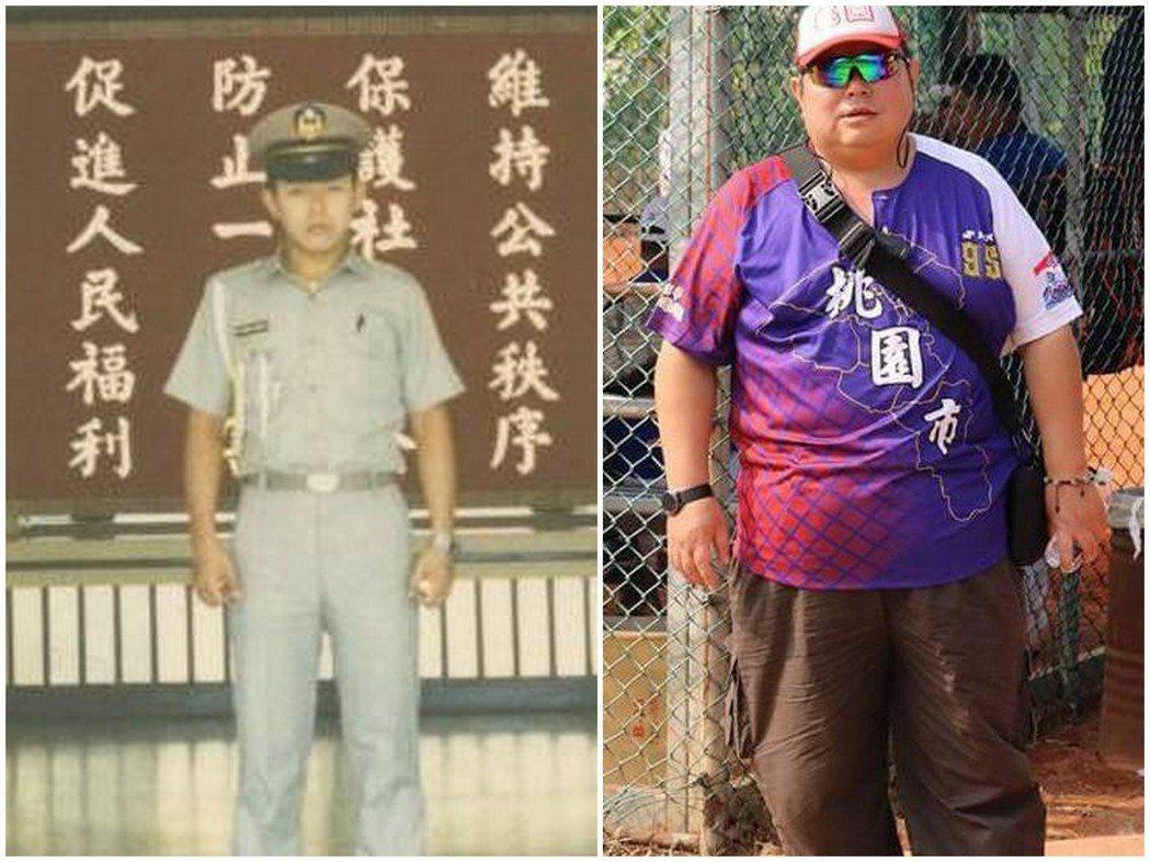 年屆50歲的退休警員孫鴻勳(右),體重128公斤。他說,剛畢業時(左)才68公斤...