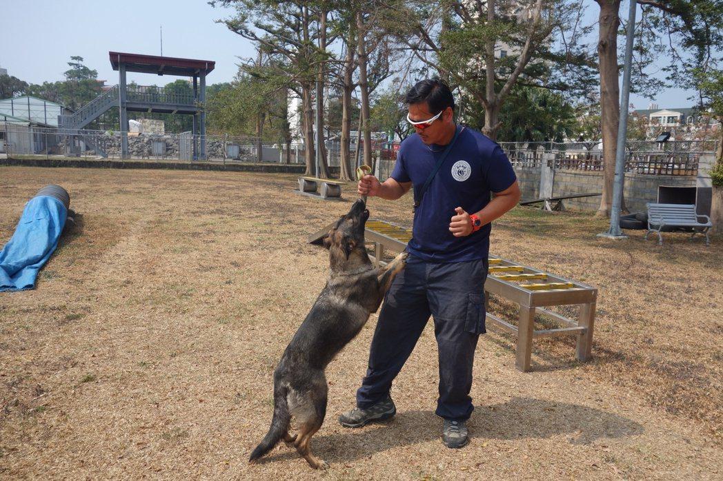 高市消防局搜救犬「荷西」與搜救犬引導員許斯傑。 記者劉星君/攝影