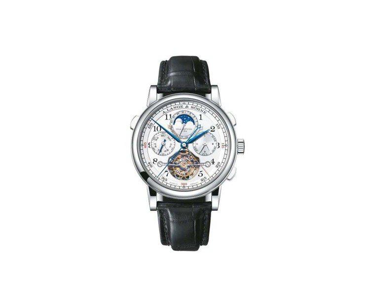 朗格追針計時萬年曆陀飛輪表,約1,610萬元。圖/A. Lange & Söhn...