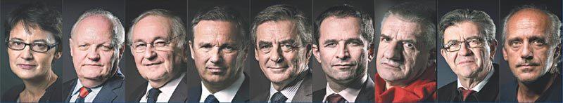 法國總統大選,11位總統候選人,除馬克宏和雷朋外的另9位。 法新社