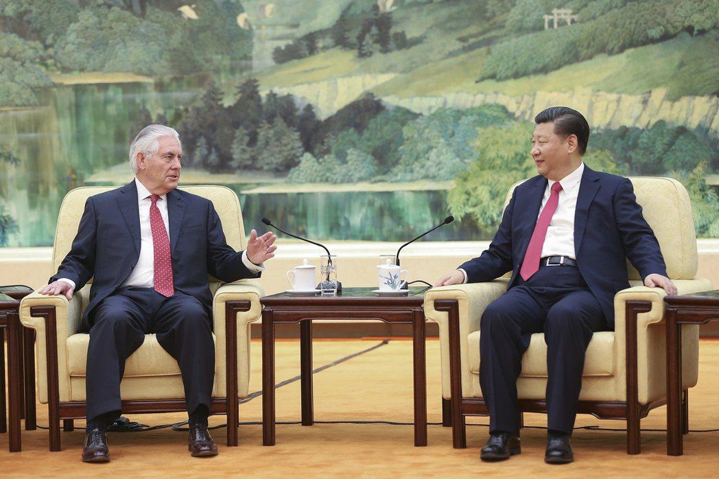 美國國務卿提勒森與大陸國家主席習近平。歐新社