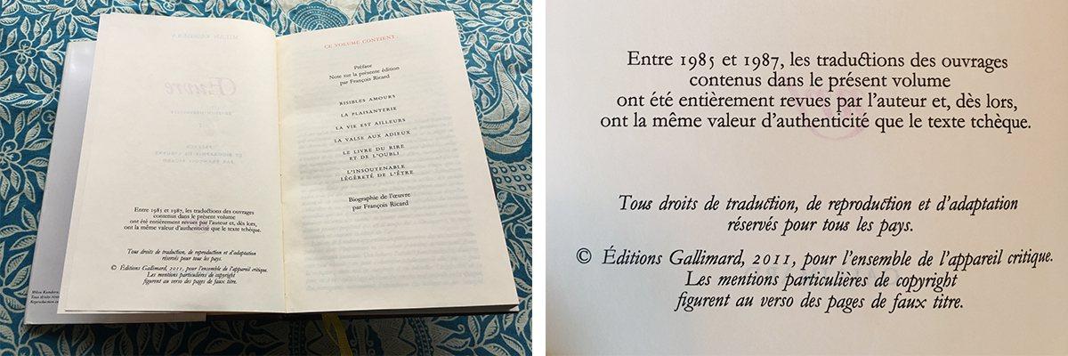 《米蘭・昆德拉作品集》扉頁說明:「本書收錄作品之譯文於1985至1987年間經作...