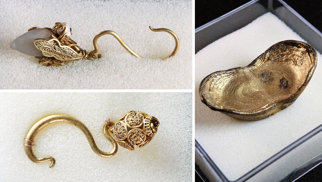 發掘出水的部分金飾和金錠。 新華社