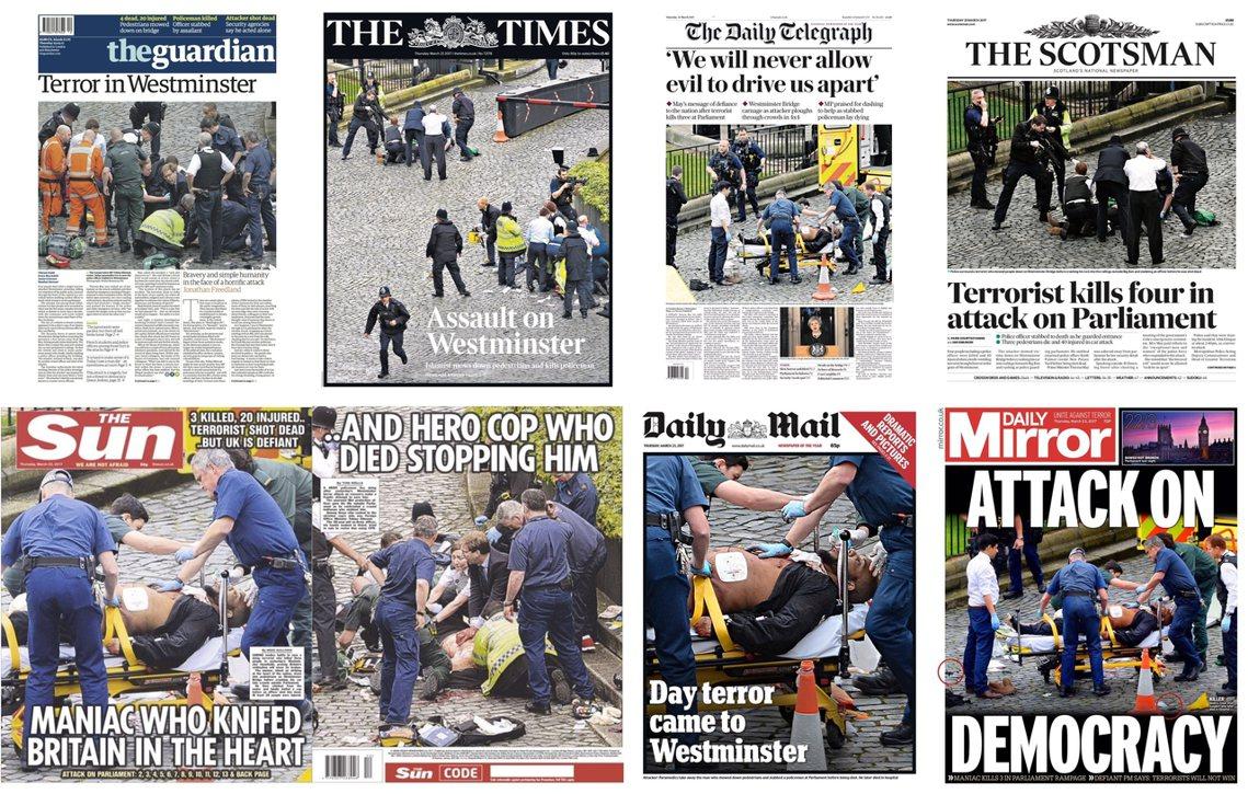 上排左起:《衛報》,西敏恐懼;《泰晤士報》,西敏遇襲;《每日電訊報》,我們絕不容...