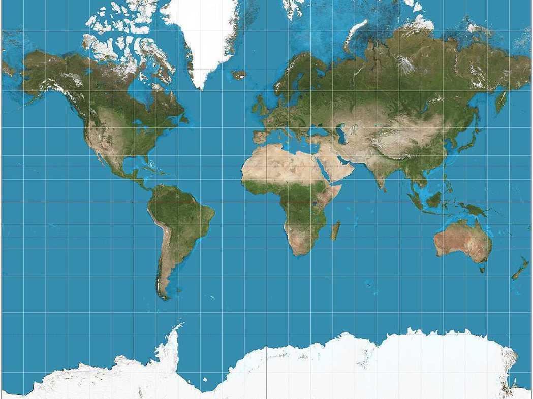依麥卡托投影法繪製的世界地圖,是一般人常見的地圖,在高緯度地區的面積會大幅放大。...