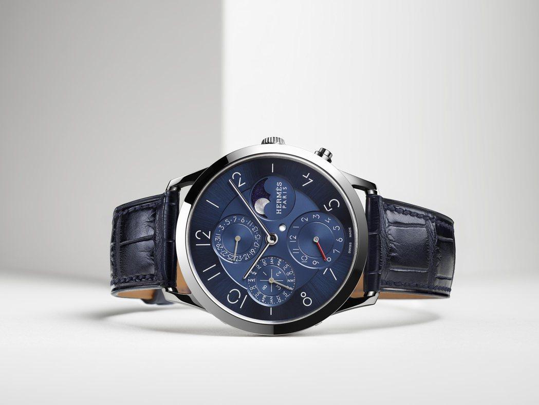 愛馬仕Slim d'Herme&#768s 系列鉑金萬年曆腕表, 150萬2,3...