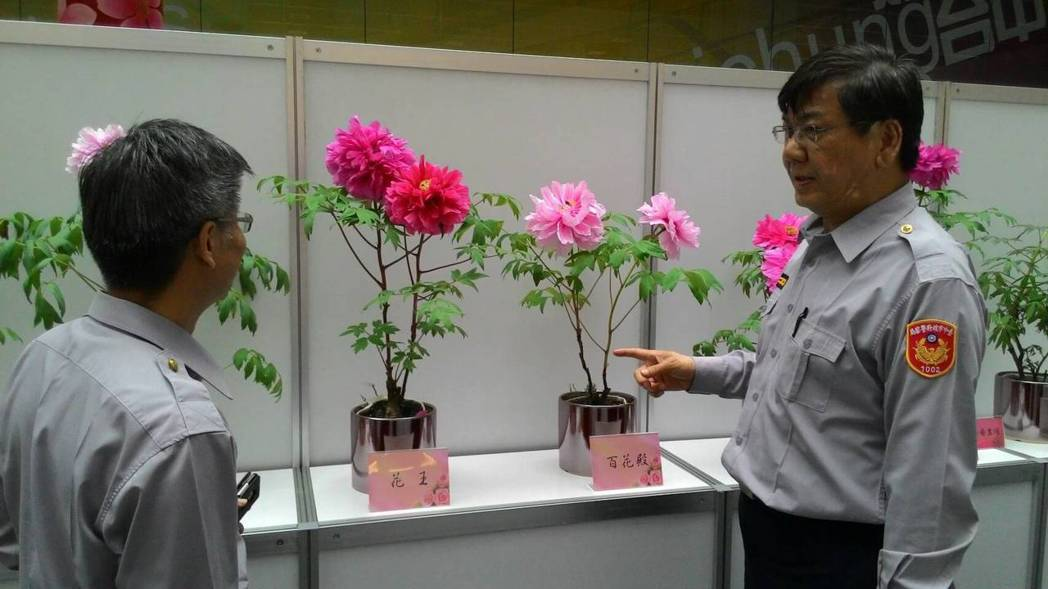 中市第一警分局副分局長林振源(右)說明牡丹花的特性。圖/警方提供