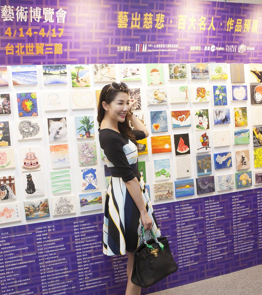 Pop Radio電台台長林書煒。百大名人畫作展示。台北新藝術博覽會(ART)/...