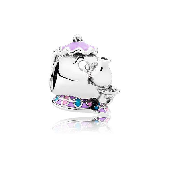 迪士尼茶壺太太與阿齊紫、粉紅及藍琺瑯925銀串飾,2,180元。圖/PANDOR...