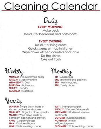 這張家務清單明確列出每天、每週到每月的應做家事,讓網友們直呼吃不消。圖擷自Mir...