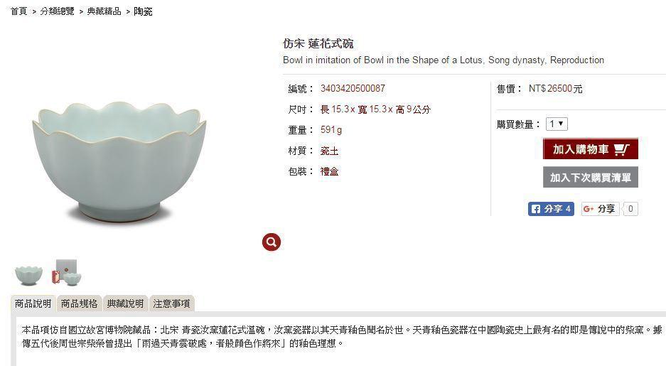 仿宋蓮花式碗,要價2萬6500元。圖/翻攝自「故宮精品」網站