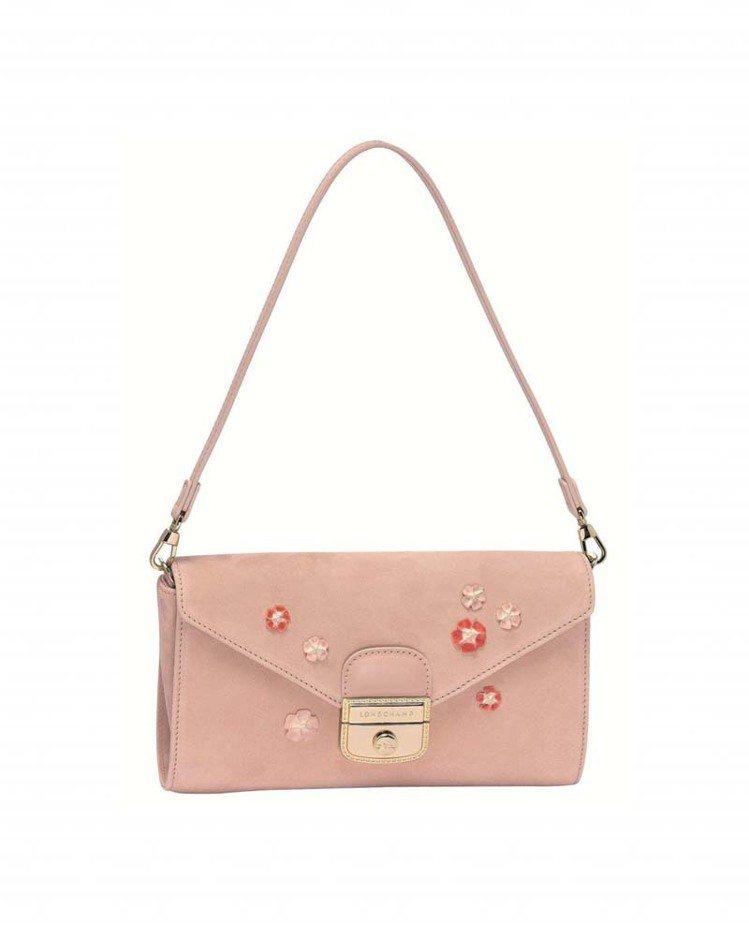 Longchamp粉紅花朵LE PLIAGE HERITAGE LUXE手拿包,...