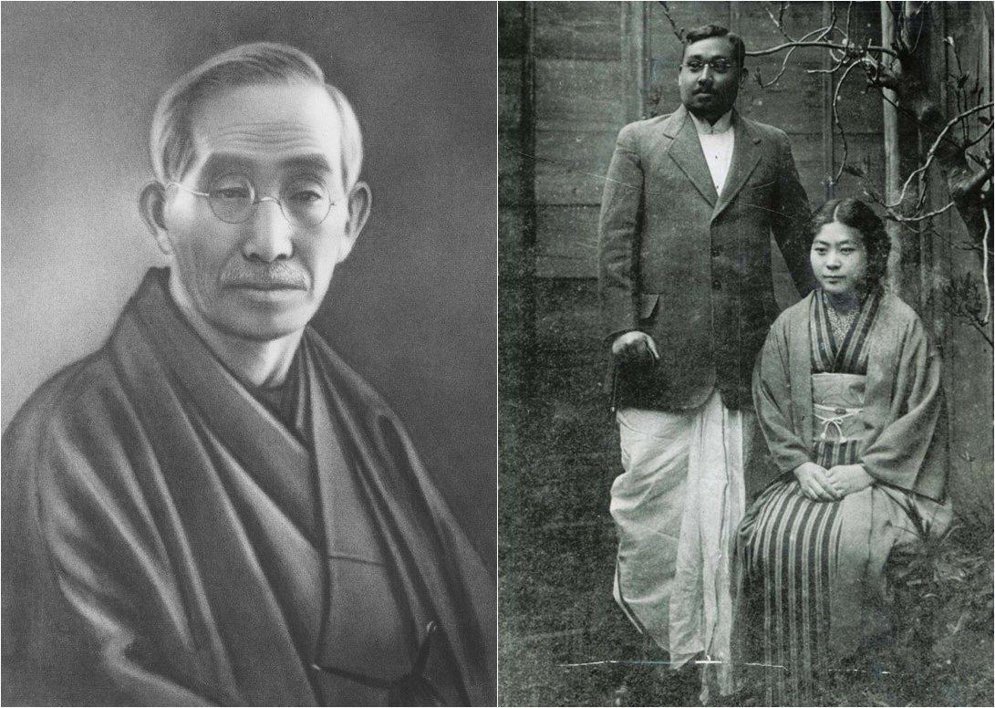 新宿賣西點麵包的中村屋老闆相馬愛藏(左)。孤獨的印度流亡領袖博斯(中),平日只能...