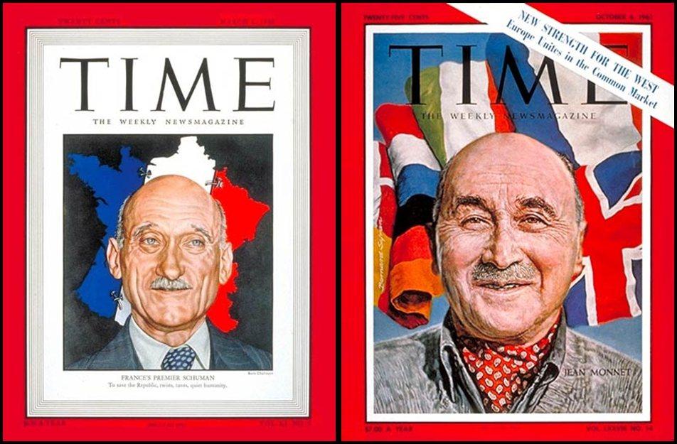歐盟之父:〈時代雜誌〉在1948年3月1日與1961年10月6日,分別以舒曼(左...