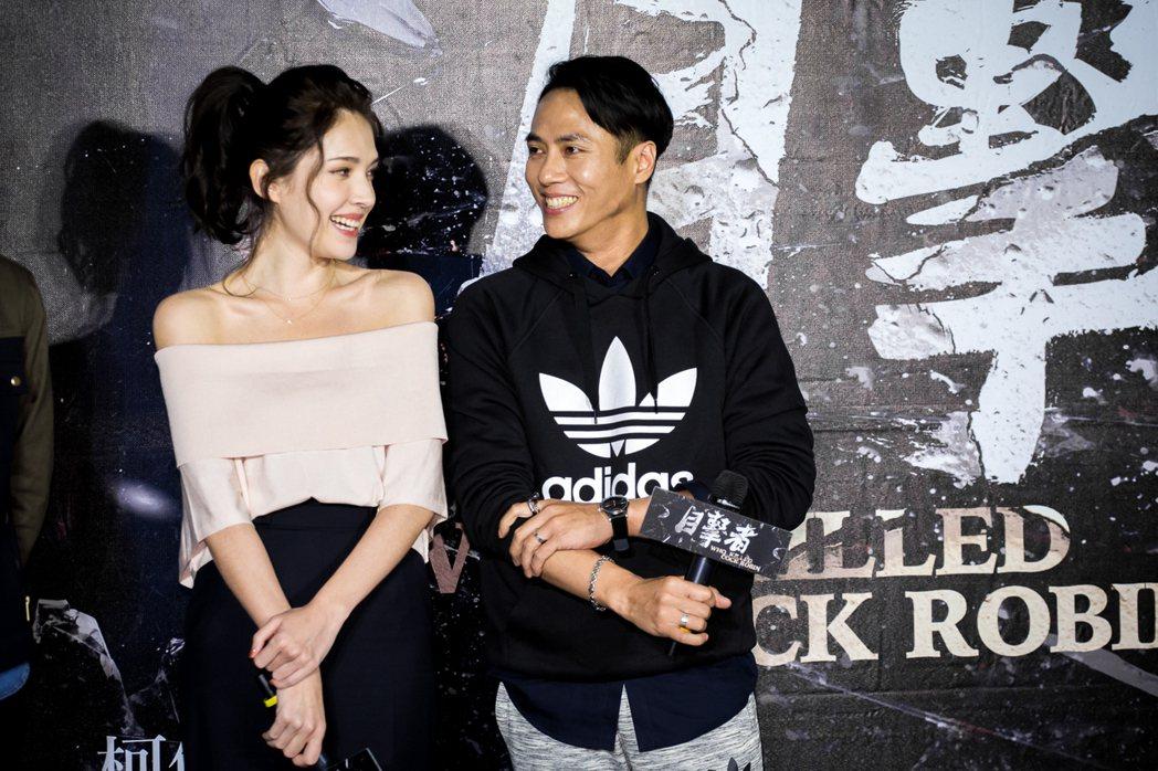 許瑋甯與莊凱勛一起參加「目擊者」台中首映會。圖/穀得提供
