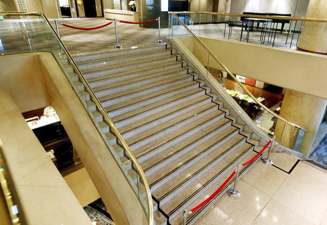 接連發生名人摔倒意外的台北晶華酒店,後方二樓通往三樓宴會廳的階梯目前已經封閉。 ...