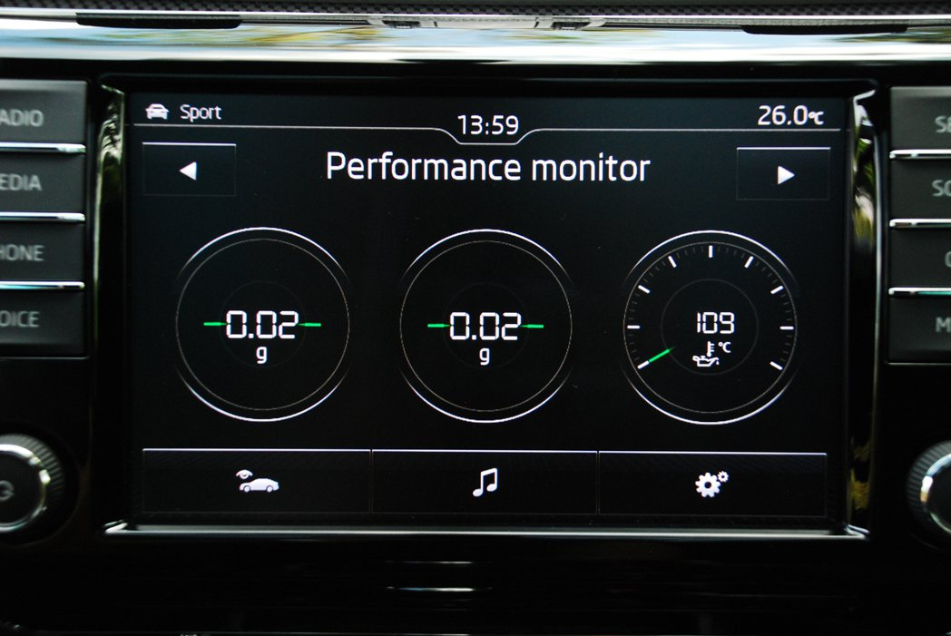 8吋彩色觸控螢幕可以查看G值、單圈計時、油溫等數據。記者林昱丞/攝影