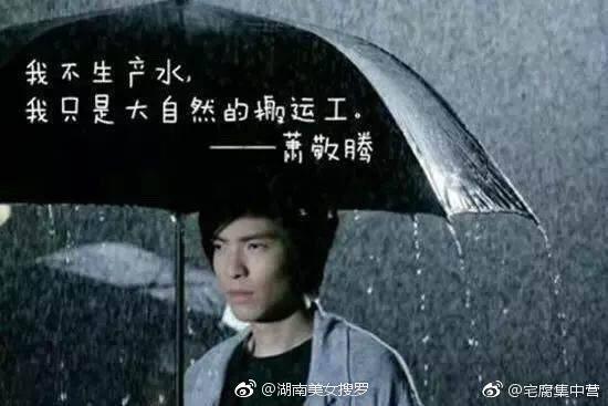 網友做圖惡搞「雨神」蕭敬騰。圖/取自微博