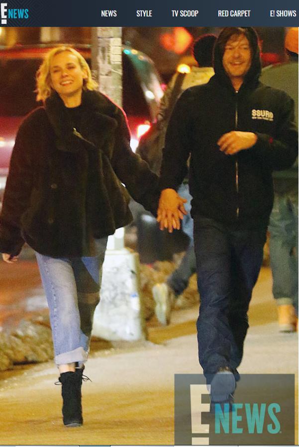 諾曼李杜斯與黛安克魯格大方牽手認愛。圖/翻攝自E!News