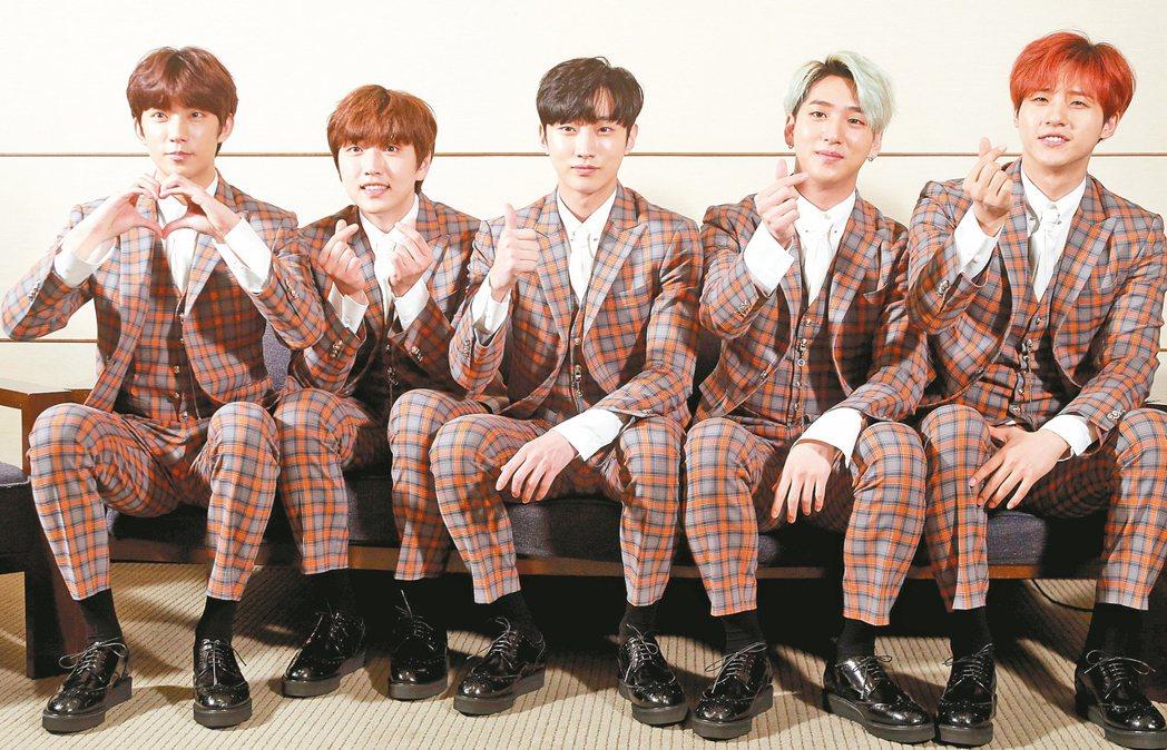 暌違3年的韓團B1A4來台開唱。 聯合報系資料照片 記者屠惠剛/攝影