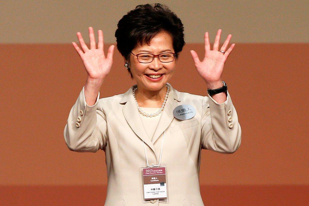 當選香港特首的林鄭月娥。 (路透)