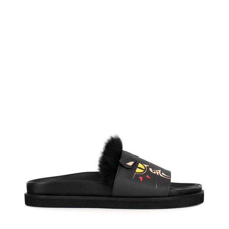 FURLA黑豹拖鞋,11,000元。圖/FURLA提供
