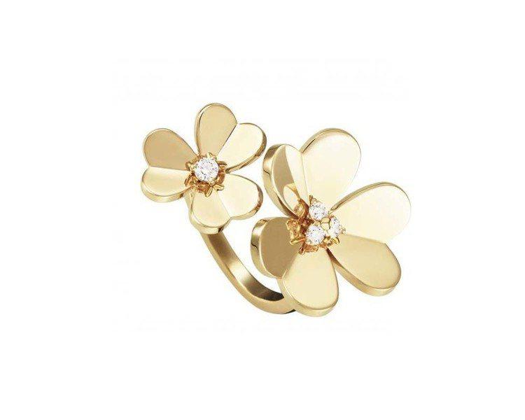 Frivole指間戒鏡面拋光18K黃金,不對稱立體花瓣設計,花蕊鑲嵌鑽石。圖╱V...