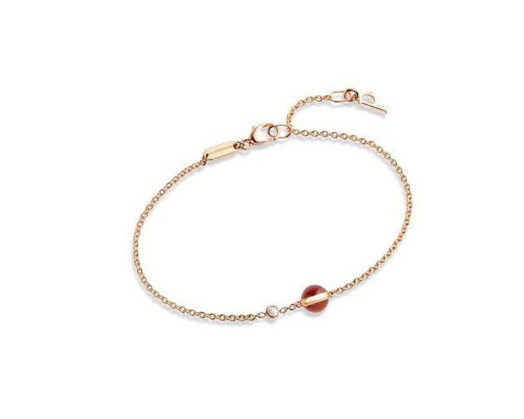 Possession18K玫瑰金手鍊,鑲嵌單顆圓鑽及單顆紅玉髓圓珠,約36,50...