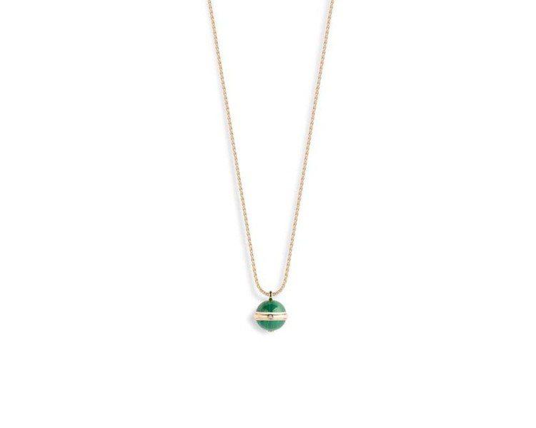 Possession 18K玫瑰金項鍊,鑲嵌單顆圓鑽,及2顆孔雀石圓珠,約155...