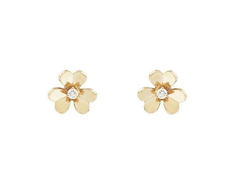 Frivole迷你尺寸耳環,鏡面拋光18K黃金,花蕊鑲嵌鑽石,82,000元,另...