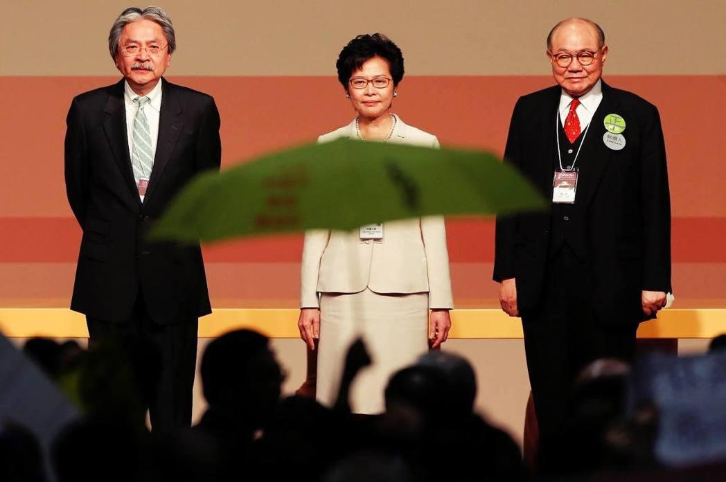 三位候選人:前財政司長曾俊華(左)、前政務司長林鄭月娥(中)、退休法官胡國興(右...