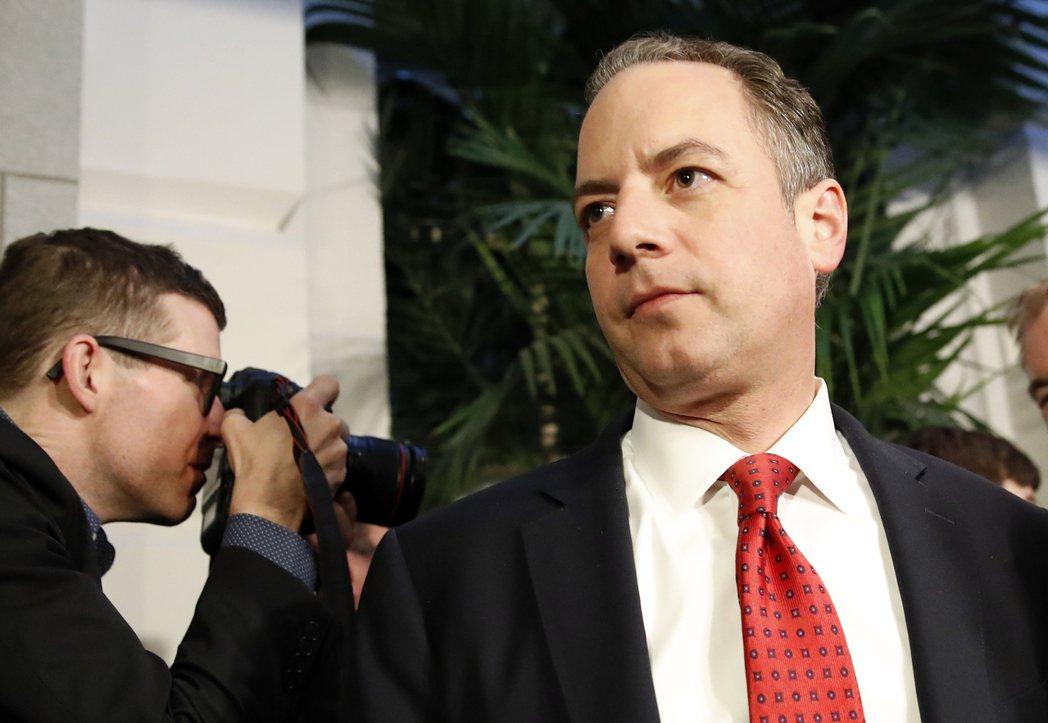 白宮幕僚長蒲博思表示,若黨內保守派不支持,川普將尋求與共和黨議員合作。(美聯社)
