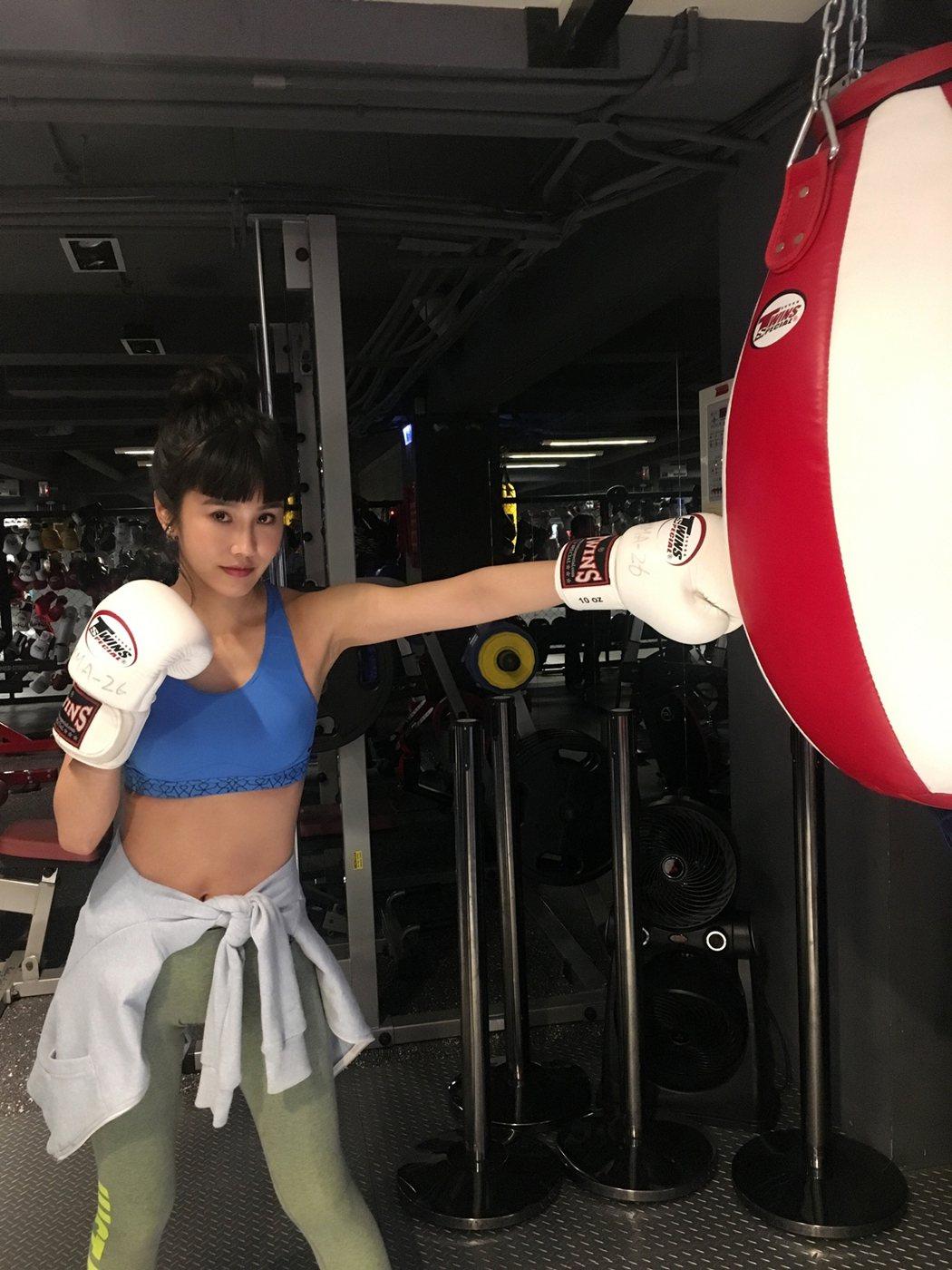 黃心娣最近迷上拳擊。圖/周子娛樂提供