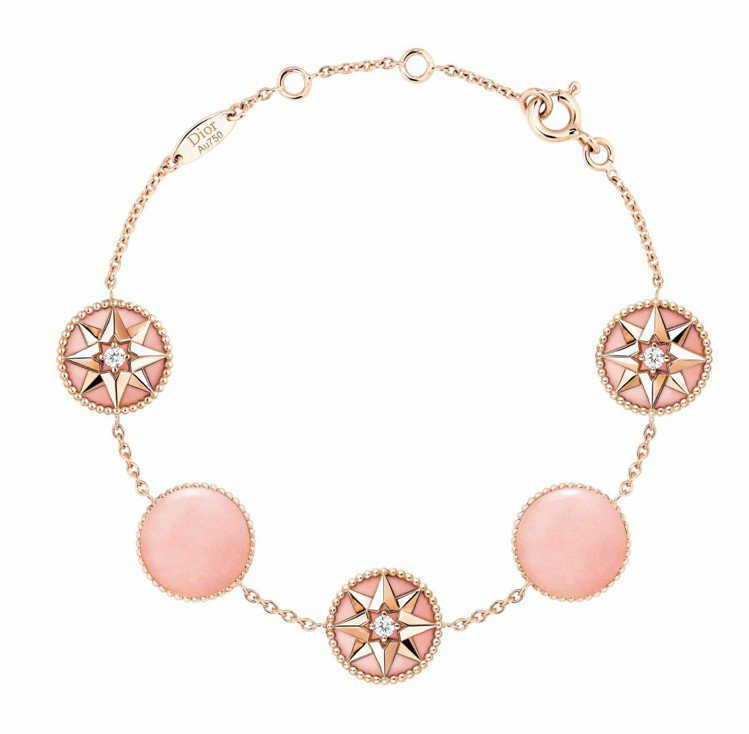 ROSE DES VENTS 5顆粉紅蛋白石羅盤圓章玫瑰金鑽石手鍊,價格店洽。圖...