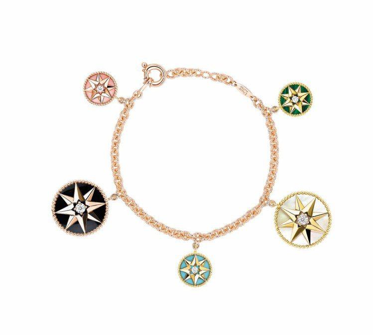 ROSE DES VENTS寶石吊飾玫瑰金手鍊,18K玫瑰金及黃金、鑽石、珍珠母...