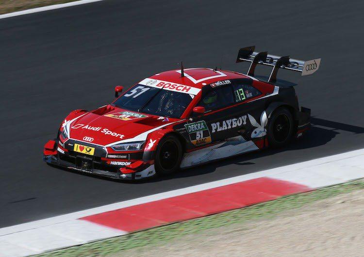 全新第三代Audi RS 5 DTM賽車現身義大利賽道,為即將於5月初開跑的德國房車大師賽DTM做最終調校。 圖/台灣奧迪提供